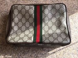 New Vintage GUCCI Leather Travel Cosmetic Case Shave Dopp Kit Toiletries Bag
