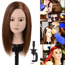 100 Real Human Hair Cosmetology Training Mannequin Head Practice Dolls Stand