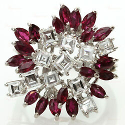Estate Custom-Made 18k White Gold Ruby & Diamond Floral Cluster Ring