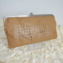 NWT HOBO International Lauren Perforated Leather Clutch Wallet Caramel
