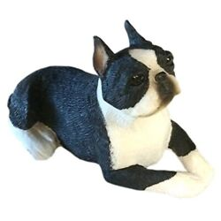 Sandicast Sculpture Small Lying Boston Terrier
