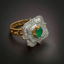 Pave 1.83 Cts Round Baguette Cut Diamonds Emerald Cocktail Ring In Fine 14k Gold