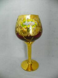 Vintage Bohemian Czech Ruby Goblet 24k Gold Enameled Hand Painted