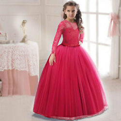 Kids Flower Girl Bow Princess Dress for Girls Party Wedding Bridesmaid Gown O125