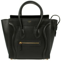 Celine Micro Luggage Tote Bag in Smooth Black Calfskin Leather