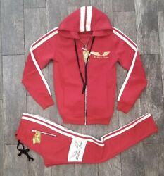 Robinand039s Jean Biker Style Hooded Track Suit W/jogger In Red And White Contrast