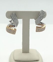 18k Rose And White Gold Diamond Earrings Ladies Estate 2.50 Carats