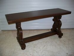 Beautiful Antique American Oak Winged Griffin Couch Table