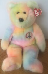 Ty First Embroidered Emblem Tye Dye Large Beanie Baby Buddies 1999 Collection