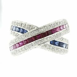 1.55 Ct Multi Sapphires And 0.50 Ct Diamonds In 18k Gold X Wedding Band Ring