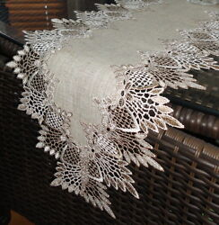 65 Dresser Scarf Shelf Mantel Table Runner Earth Doily Feather Lace