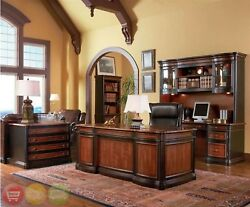 4 Piece Executive Desk, 2 Bookcases & Lateral File Two Tone Wood Home Office Set