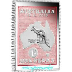 2013 Australia Kangaroo And Map 1913 - 2013 Stamp And Stamp-shaped Proof Coin Set