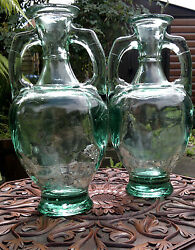 Pair Of Vintage Classical Amphora Green Glass Vases 13.5 Tall - 6.8 Kilos
