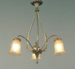 Ca. 1910 Three-Light French Brass Nouveau Chandelier with Gold Iridescent Shades