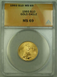 1993 10 American Gold Eagle Coin Age 1/4th Oz Anacs Ms-69
