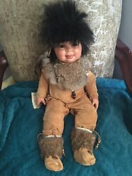 """Porcelain Indian Doll 27"""". Weighted Toddler Body To Sit Up 500 Ea Made."""