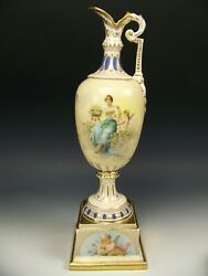 Royal Vienna Hand Painted Interessante Lecture 13.5 Inches Ewer Artist Signed