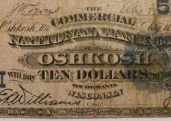 Oshkosh Wisconsin Wi 1882 10.00 Date Back Ch. 5557 The Commercial Nb