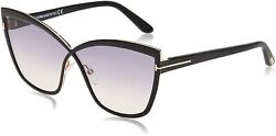 Tom Ford FT0715 TF 715 01C SANDRINE-02 Black Gradient Silver Mirror Sunglasses