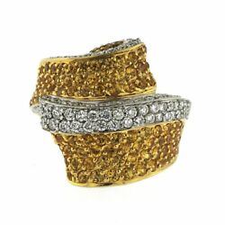 14k Yellow Gold 1.40 Ct Diamonds And 2.35 Ct Yellow Sapphire Wrap Ring Size 7
