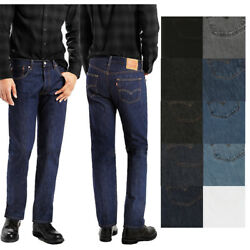 Mens 501 Original Shrink To Fit Denim Button Fly Classic Rise Jeans