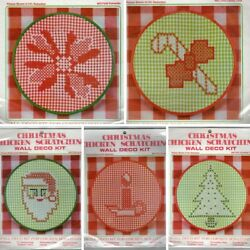 Vintage Christmas Chicken Scratch Embroidery Kit Hoop Gingham Fabric U Pick