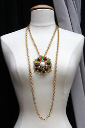 CHANEL 1990s Gilted metal necklace with red green and pearly glass paste brooch