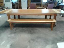 Figured Cherry And Curly Maple Harvest/dining Table With Matching Benches