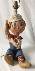 Vintage Raggedy Andy Table Lamp Ceramic Rag Doll No Ann Primitive Country Decor