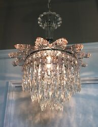 """33"""" Long Chrome And Glass Wedding Cake Fixture Beautiful Prisms Wired 44b"""