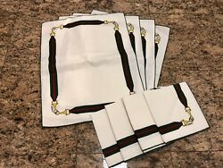 Vintage Gg Horsebit Pattern Green Red White Set Of 4 Placemats And Napkins