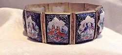 Antique Persian Enamel Painted Silver Bracelet With 8 Panels 8 Isfahan Signed
