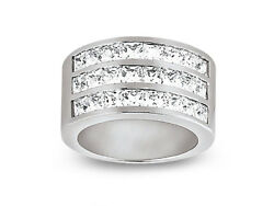 1.92ct Diamond Wedding Band Ring 3row 14k White Gold Princess Channel New H Si2