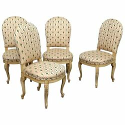 Superb Carved Creme Painted Set 4 French Louis Xv Style Dining Side Chairs C1940