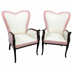 Gorgeous Pair Carved Walnut Figural Ladies Fireside Wing Bergere Chairs