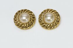 Paris 1980's Gold Plated Chain Pearl Earrings