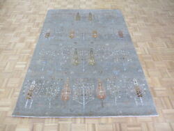 5and0397 X 7and0398 Hand Knotted Gray Willow Cypress Tree Oriental Rug With Silk G5850