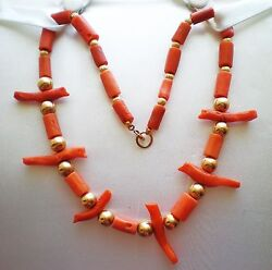 Antique 14k Gold Natural Salmon Red Coral Carved Bird Fetish Beaded Necklace