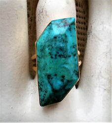 Huge Vintage Native American 14k Yellow Gold Turquoise Statement Ring 11.3 G.