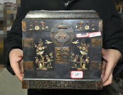 9 Old Chinese Dynasty Noble Rosewood Wood Inlay Shell Jewelry Boxes Storage Box