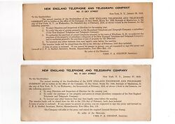 New England Telephone And Telegraph Co/invitations 2 Stock Holders Mtgs 1915 And '16