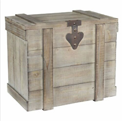 Bleached Grey Wood Metal Small Treasure Hope Chest Storage Trunk Steamer Decor