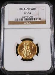 1998 10 1/4 Ounce Key Date Rare Low Pop American Gold Eagle Ngc Ms 70 Top Grade
