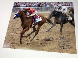 Mike Smith Signed Inscribed Belmont Stakes 16 X 20 Photograph Steiner Le 6/18