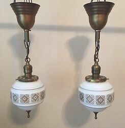 19 Brass Pendant Lights Matched Lair White Gold Shades Finials Antique 22d
