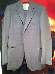 Isaia-blue Birds Eye Check Suit 140's-3btn-flat Frnt-center Vent-size 50r Euro