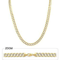 6.50mm 24 37.50gm 14k Gold Two Tone Men's Heavy Cuban White Pave Chain Necklace