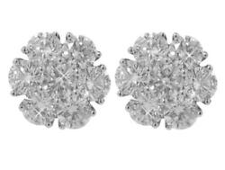 2.00 Ct. Tw Large Round Diamond Cluster Earrings In 14 Kt. Post Back Mounts