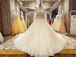 Long Sleeve Wedding Dress Handcrafted Crystal Ball Gown Lace Elegant Zipper Back